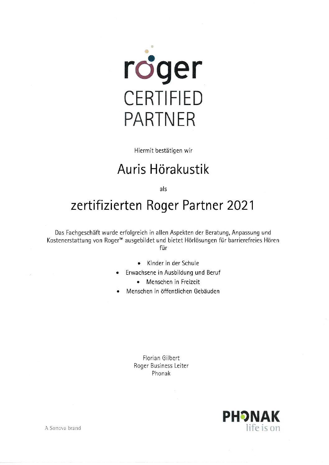 Roger Service Partner 2021